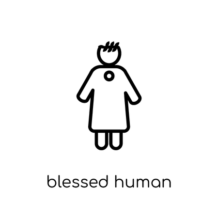 blessed human icon. Trendy modern flat linear vector blessed human icon on white background from thin line Feelings collection, editable outline stroke vector illustration Standard-Bild - 112234104