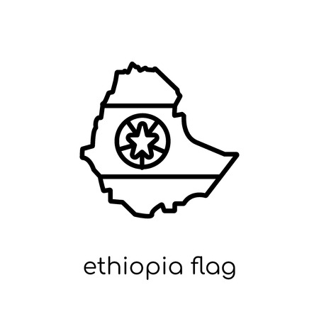 Ethiopia flag icon. Trendy modern flat linear vector Ethiopia flag icon on white background from thin line Country Flags collection, editable outline stroke vector illustration Stock Illustratie