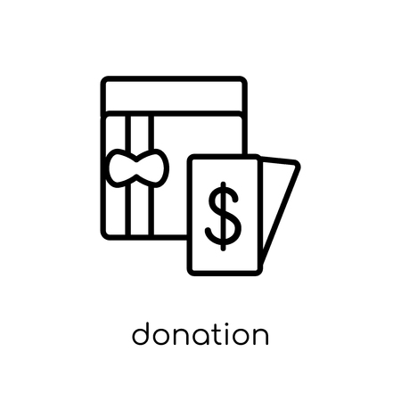 Donation icon. Trendy modern flat linear vector Donation icon on white background from thin line Cryptocurrency economy and finance collection, editable outline stroke vector illustration Illustration