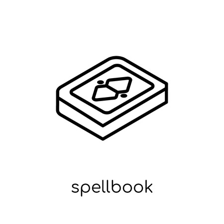 Spellbook icon. Trendy modern flat linear vector Spellbook icon on white background from thin line Fairy Tale collection, editable outline stroke vector illustration