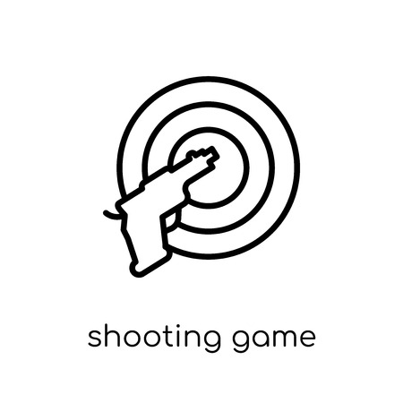 shooting game icon. Trendy modern flat linear vector shooting game icon on white background from thin line Arcade collection, outline vector illustration Illustration