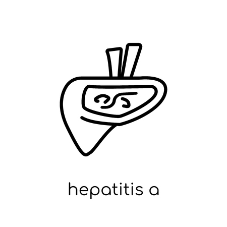 Hepatitis A icon. Trendy modern flat linear vector Hepatitis A icon on white background from thin line Diseases collection, editable outline stroke vector illustration