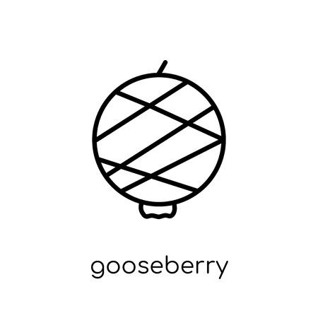 Stachelbeere-Symbol. Trendiges modernes flaches lineares Vektorstachelbeersymbol auf weißem Hintergrund aus dünner Linie Obst- und Gemüsesammlung, Umrissvektorillustration Vektorgrafik