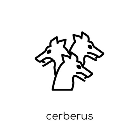 Cerberus icon. Trendy modern flat linear vector Cerberus icon on white background from thin line Fairy Tale collection, editable outline stroke vector illustration