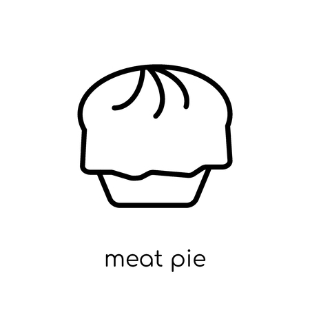meat pie icon. Trendy modern flat linear vector meat pie icon on white background from thin line Australia collection, outline vector illustration