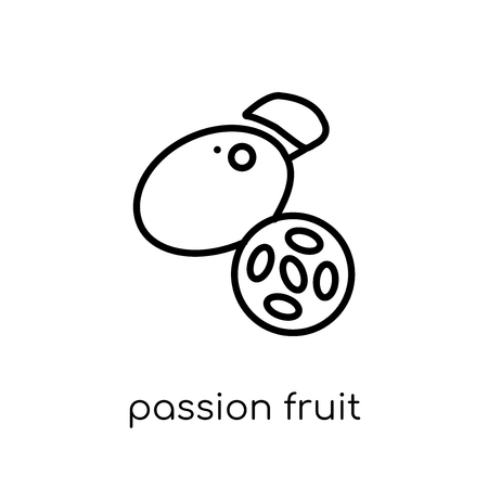 passion fruit icon. Trendy modern flat linear vector passion fruit icon on white background from thin line Fruit and vegetables collection, outline vector illustration