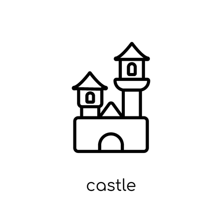 Castle icon. Trendy modern flat linear vector Castle icon on white background from thin line Fairy Tale collection, editable outline stroke vector illustration Illustration