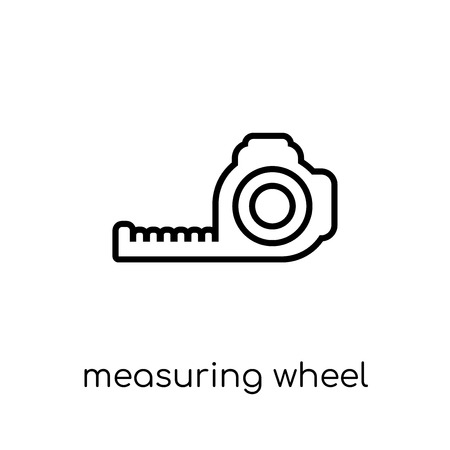 Measuring wheel icon. Trendy modern flat linear vector Measuring wheel icon on white background from thin line Construction collection, editable outline stroke vector illustration Ilustracja