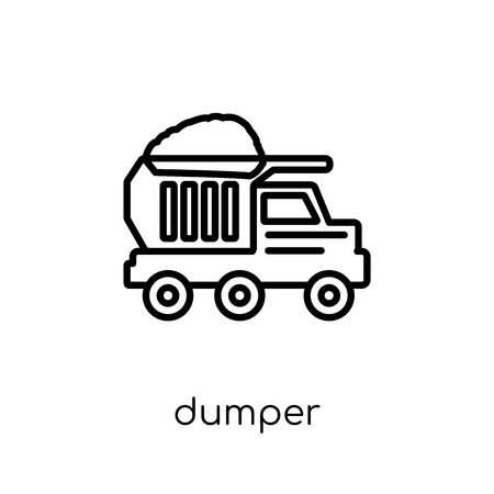 Dumper icon. Trendy modern flat linear vector Dumper icon on white background from thin line Construction collection, editable outline stroke vector illustration Illustration