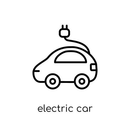 elektrische auto icoon. Trendy modern plat lineaire vector elektrische auto icoon op een witte achtergrond uit dunne lijn collectie, overzicht vectorillustratie Vector Illustratie