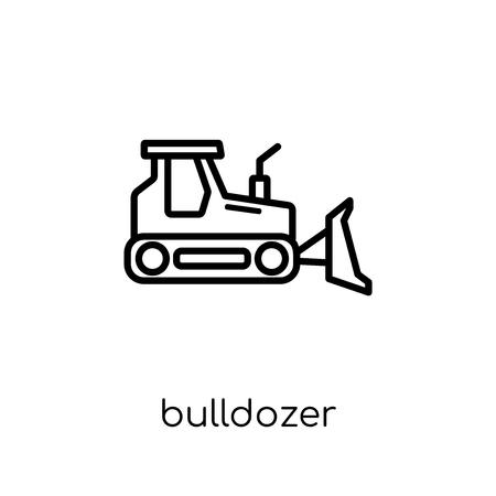 Ikona spychacza. Modny nowoczesny płaski liniowy wektor spychacz ikona na białym tle z cienkiej linii kolekcja budowlana, edytowalna ilustracja wektorowa obrysu konturu Ilustracje wektorowe