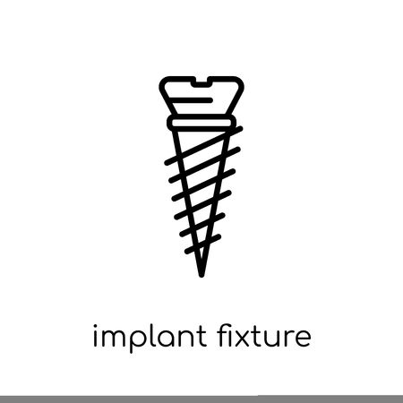 Implant Fixture icon. Trendy modern flat linear vector Implant Fixture icon on white background from thin line Dentist collection, editable outline stroke vector illustration