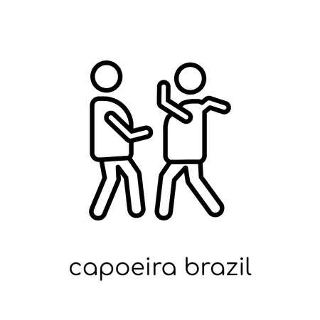 capoeira brazil dancers icon. Trendy modern flat linear vector capoeira brazil dancers icon on white background from thin line Brazilian icons collection, outline vector illustration