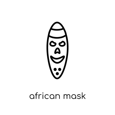 african mask icon. Trendy modern flat linear vector african mask icon on white background from thin line Museum collection, outline vector illustration