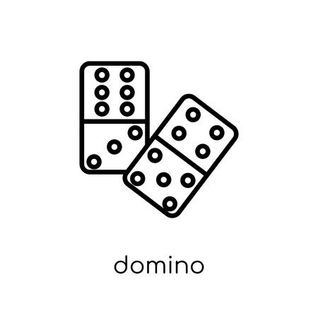 domino-pictogram. Trendy modern plat lineaire vector domino icoon op een witte achtergrond van dunne lijn Arcade collectie, overzicht vectorillustratie