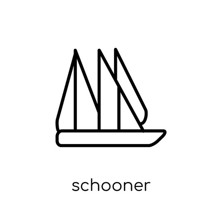 schooner icon. Trendy modern flat linear vector schooner icon on white background from thin line Transportation collection, outline vector illustration
