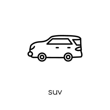suv icon. Trendy modern flat linear vector suv icon on white background from thin line collection, outline vector illustration