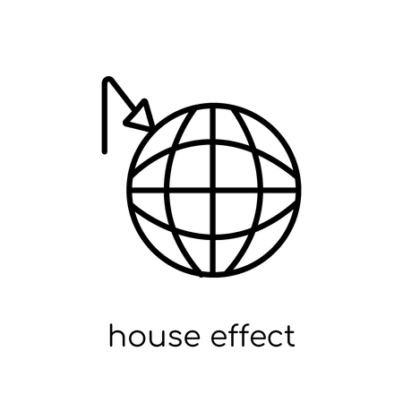greenhouse effect icon. Trendy modern flat linear vector greenhouse effect icon on white background from thin line Ecology collection, outline vector illustration Banco de Imagens - 112233832