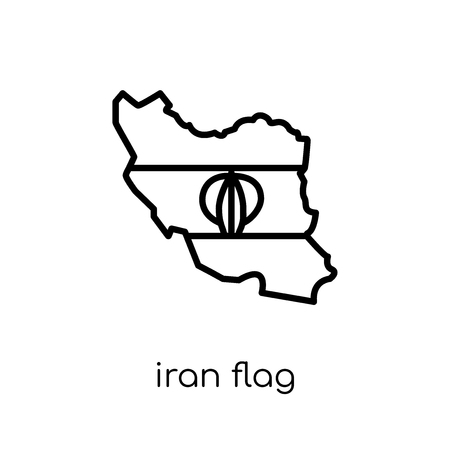 Iran flag icon. Trendy modern flat linear vector Iran flag icon on white background from thin line Country Flags collection, editable outline stroke vector illustration Çizim