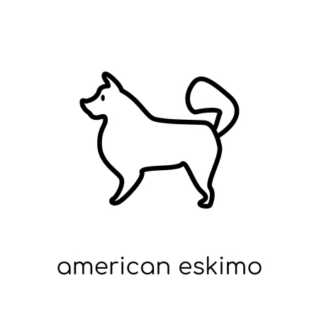 American Eskimo Dog dog icon. Trendy modern flat linear vector American Eskimo Dog dog icon on white background from thin line dogs collection, editable outline stroke vector illustration