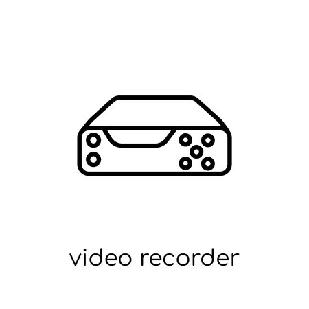 Video recorder icon. Trendy modern flat linear vector Video recorder icon on white background from thin line Electronic devices collection, editable outline stroke vector illustration Standard-Bild - 112233835