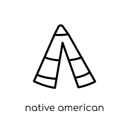 native american wigwam icon. Trendy modern flat linear vector native american wigwam icon on white background from thin line American Indigenous Signals collection, outline vector illustration  イラスト・ベクター素材
