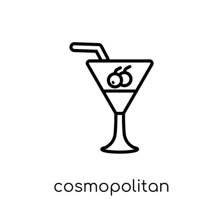 cosmopolitan icon. Trendy modern flat linear vector cosmopolitan icon on white background from thin line Drinks collection, outline vector illustration Illusztráció