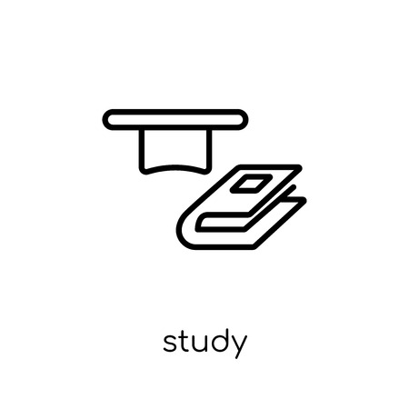 Study icon. Trendy modern flat linear vector Study icon on white background from thin line E-learning and education collection, editable outline stroke vector illustration