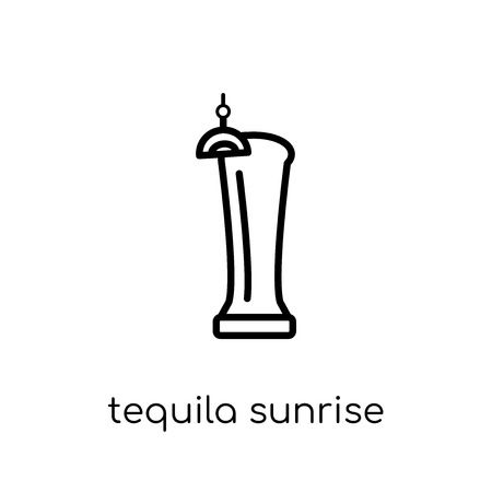 tequila sunrise icon. Trendy modern flat linear vector tequila sunrise icon on white background from thin line Drinks collection, outline vector illustration