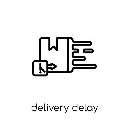 delivery delay icon. Trendy modern flat linear vector delivery delay icon on white background from thin line Delivery and logistic collection, outline vector illustration