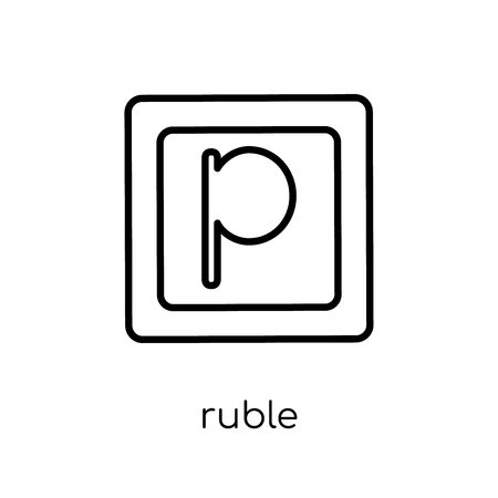 ruble icon. Trendy modern flat linear vector ruble icon on white background from thin line Russia collection, outline vector illustration  イラスト・ベクター素材