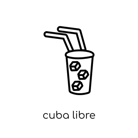 cuba libre icon. Trendy modern flat linear vector cuba libre icon on white background from thin line Drinks collection, outline vector illustration