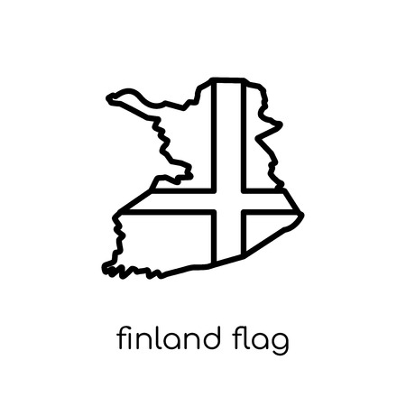 Finland flag icon. Trendy modern flat linear vector Finland flag icon on white background from thin line Country Flags collection, editable outline stroke vector illustration  イラスト・ベクター素材