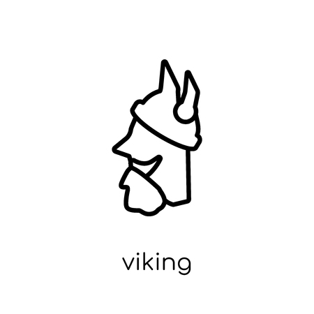 Viking icon. Trendy modern flat linear vector Viking icon on white background from thin line Fairy Tale collection, editable outline stroke vector illustration