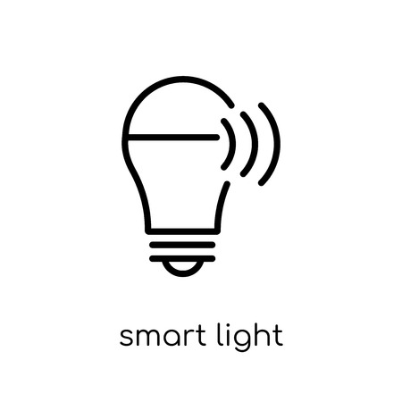 Smart light icon. Trendy modern flat linear vector Smart light icon on white background from thin line Electronic devices collection, editable outline stroke vector illustration