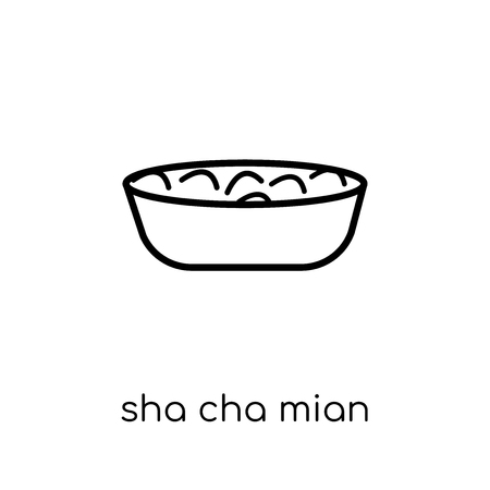 sha cha mian icon. Trendy modern flat linear vector sha cha mian icon on white background from thin line Chinese Food collection, outline vector illustration Illustration