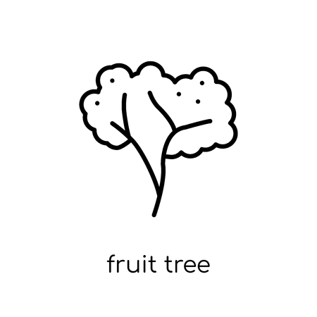 fruit tree icon. Trendy modern flat linear vector fruit tree icon on white background from thin line Ecology collection, outline vector illustration