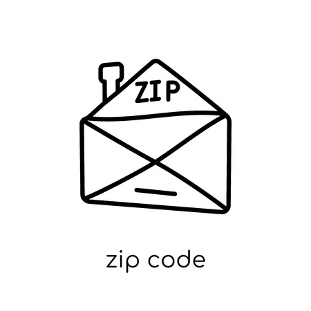 zip code icon. Trendy modern flat linear vector zip code icon on white background from thin line Delivery and logistic collection, outline vector illustration