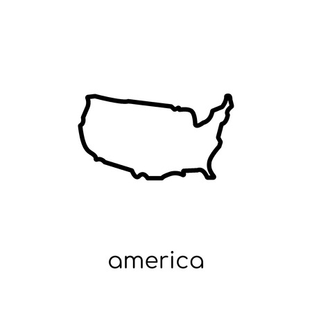 America icon. Trendy modern flat linear vector America icon on white background from thin line United States of America collection, editable outline stroke vector illustration Foto de archivo - 112230446
