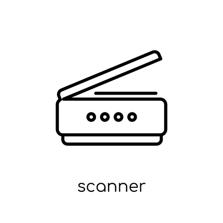 scanner icon. Trendy modern flat linear vector scanner icon on white background from thin line Electronic devices collection, outline vector illustration Banque d'images - 112230444