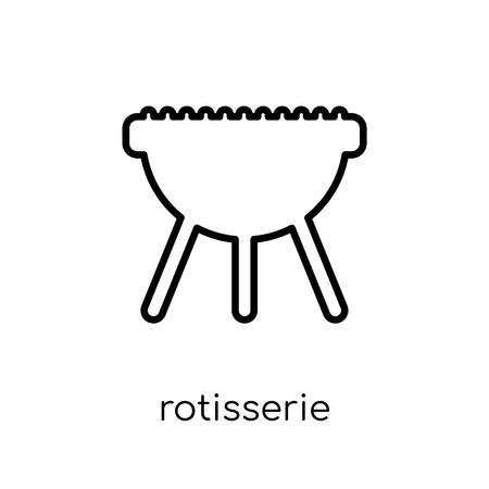 Drehspieß-Symbol. Trendiges, modernes, flaches, lineares Vektor-Drehspieß-Symbol auf weißem Hintergrund aus dünner Linie Sammlung elektronischer Geräte, Umriss-Vektor-Illustration