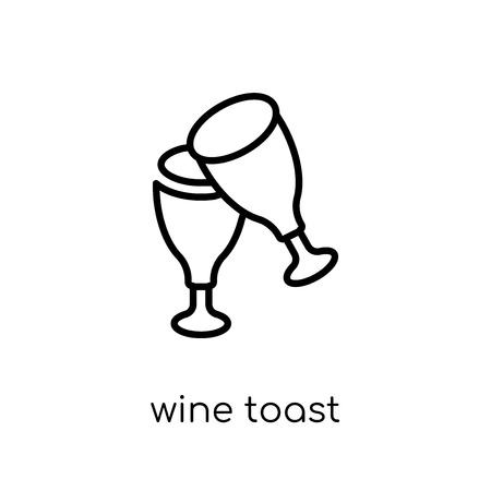wine toast icon. Trendy modern flat linear vector wine toast icon on white background from thin line Drinks collection, outline vector illustration