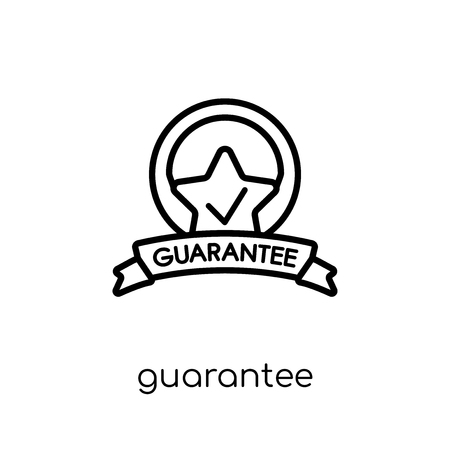 guarantee icon. Trendy modern flat linear vector guarantee icon on white background from thin line Delivery and logistic collection, outline vector illustration  イラスト・ベクター素材