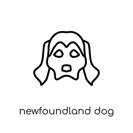 Newfoundland dog icon. Trendy modern flat linear vector Newfoundland dog icon on white background from thin line dogs collection, editable outline stroke vector illustration Banque d'images - 112230454