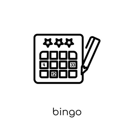 bingo icon. Trendy modern flat linear vector bingo icon on white background from thin line Entertainment collection, outline vector illustration