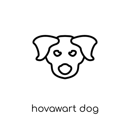 Hovawart dog icon. Trendy modern flat linear vector Hovawart dog icon on white background from thin line dogs collection, editable outline stroke vector illustration Illustration