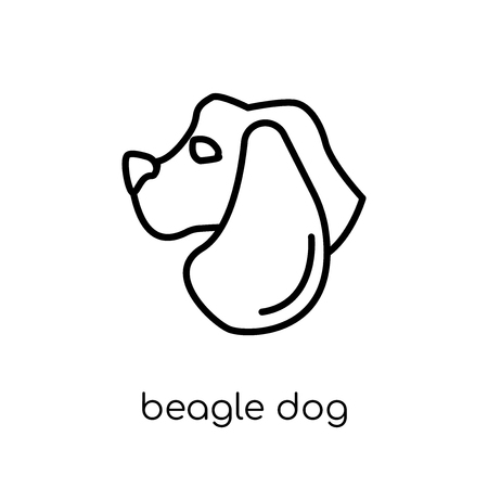 Beagle dog icon. Trendy modern flat linear vector Beagle dog icon on white background from thin line dogs collection, editable outline stroke vector illustration Ilustração