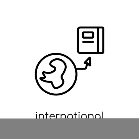 International icon. Trendy modern flat linear vector International icon on white background from thin line E-learning and education collection, editable outline stroke vector illustration Illustration