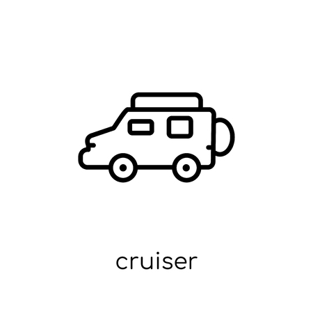 cruiser icon. Trendy modern flat linear vector cruiser icon on white background from thin line Transportation collection, outline vector illustration