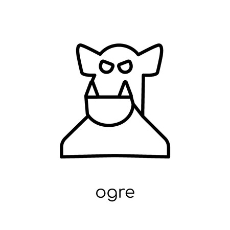 ogre icon. Trendy modern flat linear vector ogre icon on white background from thin line Fairy Tale collection, editable outline stroke vector illustration